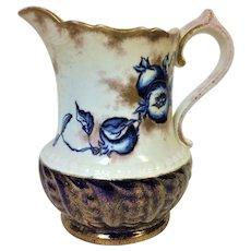 Rare Circa 1900's New England Pottery Flow Blue Pomegranates Vine Gold Pink & Cobalt Blue