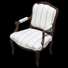 Antique Newly Reuphalstered French Bergere Arm Chair