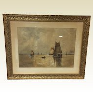 Large French Water Color Augustus Von Siegen Seascape