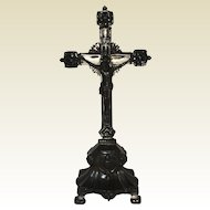 """Silverplated Pewter Cross Crucifix Standing Altar 11"""""""
