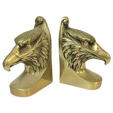 Pair of Vintage Heavy Brass Eagle Bookends