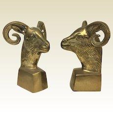 Pair Vintage Mid Century Hollywood Regency Brass Aries Ram Bookends 1960s