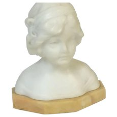 Schumacher Marble Carving of Young Girl Woman Bust