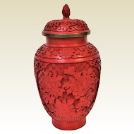 """Chinese Cinnabar Lacquer Carved Lidded Vase Jar Urn With Flower Carvings 8"""""""