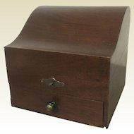 Unusual Antique Mahogany Valuable Jewelry Box W/ One Drawer & Original Key