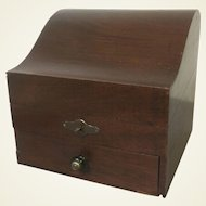 Unusual Antique Mahogany Valuable Jewelry Box W/ One Drawer & Original Key