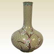Lovely Vintage Chinese Cloisonne Bud Vase With Apple Tree Blossom Decoration