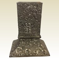 Dutch Repousse Silverpated Match Safe With Characters Scene Playing Music Dancing