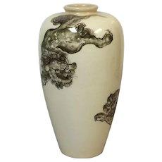 Decorative Antique Japanese Satsuma Vase W/ Foo Dogs Playing Decoration