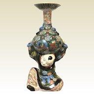Chinese Famile Verte Porcelain Candlestick of Boy Holding Vase