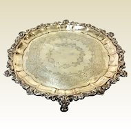 19th Century Sheffield Atkin Bros Sterling Footed Tray Salver