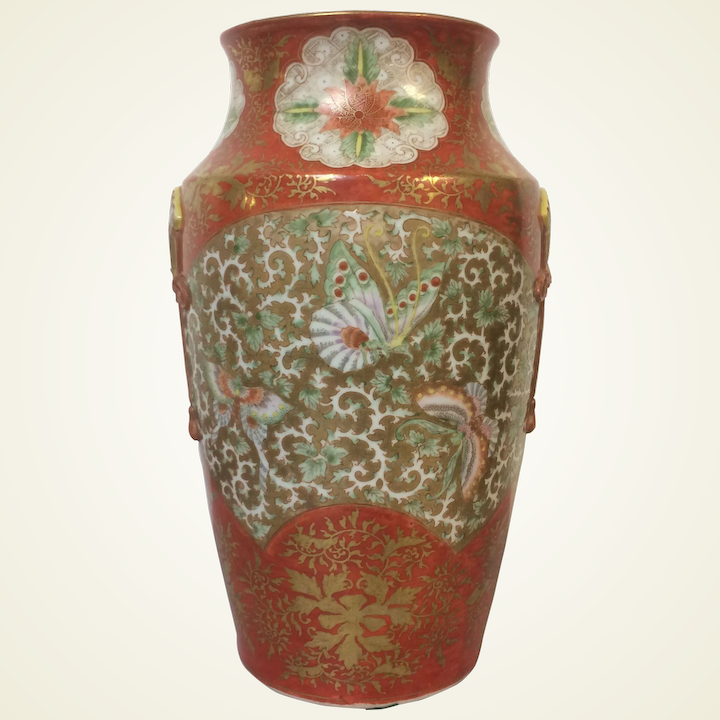 Antique Japanese Meiji Period Earthenware Large Vase With Bird And Floral Decor Antiques Asian Antiques