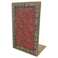 Rare Antique Chinese Cinnabar Enameled Bookend