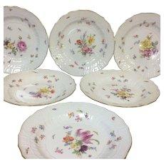 Set of 6 Antique Meissen Floral Botanical Dinner Plates Blue Crossed Swords