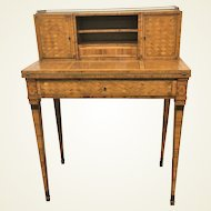 Edwardian Ladies Secretary Satinwood Desk With All Over Geometric Marquetry