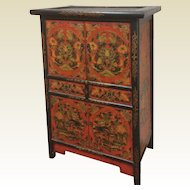 Vintage Colorful Asian Chinese Cabinet With Gesso Decoration Butterflies Flower