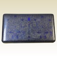 Beautiful Antique Chinese Cobalt Blue Cloisonne Valuable Trinket Box