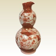 19th Century Japanese Kutani Porcelain Pouring Double Gourd Bottle Vase