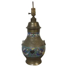 Circa 1900 Chinese Champleve Cloisonne Table Lamp W/ Phoenix Bird Decoration - Red Tag Sale Item