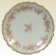 Round Elite Work Limoges Platter Tray W/ Primrose & Gold Rim Decoration 12""