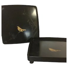Pair of  Vintage Lacquered Japanese Footed Serving Tray W/ Gold Bird Decoration