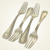 """4 Tiffany Colonial Sterling Silver Forks 6.75"""""""