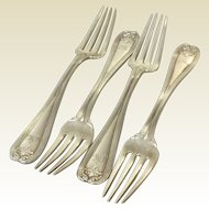 4 Tiffany Colonial Sterling Silver Forks 6.75""