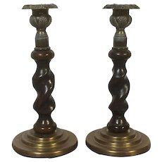 Pair Antique English Barley Twist Brown Glaze Pottery Candlesticks