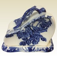 Large English Staffordshire Flow Blue Covered Cheese Dish w/ Rose Decoration