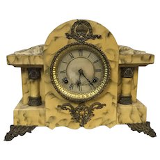Antique Faux Marble Painted Waterbury Mantel Clock