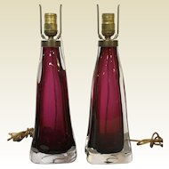 Pair of Large Carl Fagerlund for Orrefors Cranberry Red Crystal Table Lamp