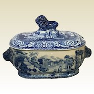Historical Staffordshire Dark Blue Gravy Tureen Lion Handles Bridge Scene Circa 1825