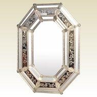 Vintage Venetian Etched Octagonal Mirror