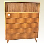 Edmond Spence Wave Front 5 Drawer Maple Chest