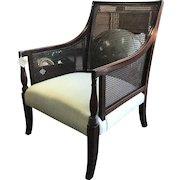 19th Century Mahogany Saber Leg Caned English Bergere Chair