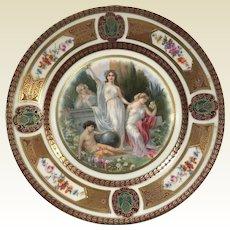 Fine German Porcelain Royal Schwarzburg Plate W/ Roman Goddess Decoration #1