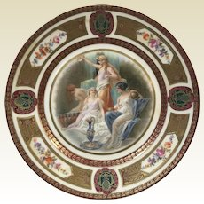 Fine German Porcelain Royal Schwarzburg Plate W/ Roman Goddess Decoration #2