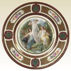 Fine German Porcelain Royal Schwarzburg Plate W/ Roman Goddess Decoration #6