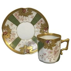 Fine Fischer & Mieg Decorated Demitasse Cup & Saucer