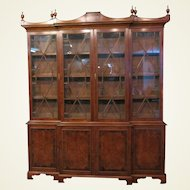 Late 19th Century Continental Yew Wood Breakfront Bookcase With Banded Rosewood