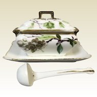 Charming Little Limoges Porcelain Sauce Tureen & Ladle Hand Painted