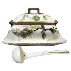Charming Little Limoges Porcelain Sauce Tureen & Ladle Hand Painted