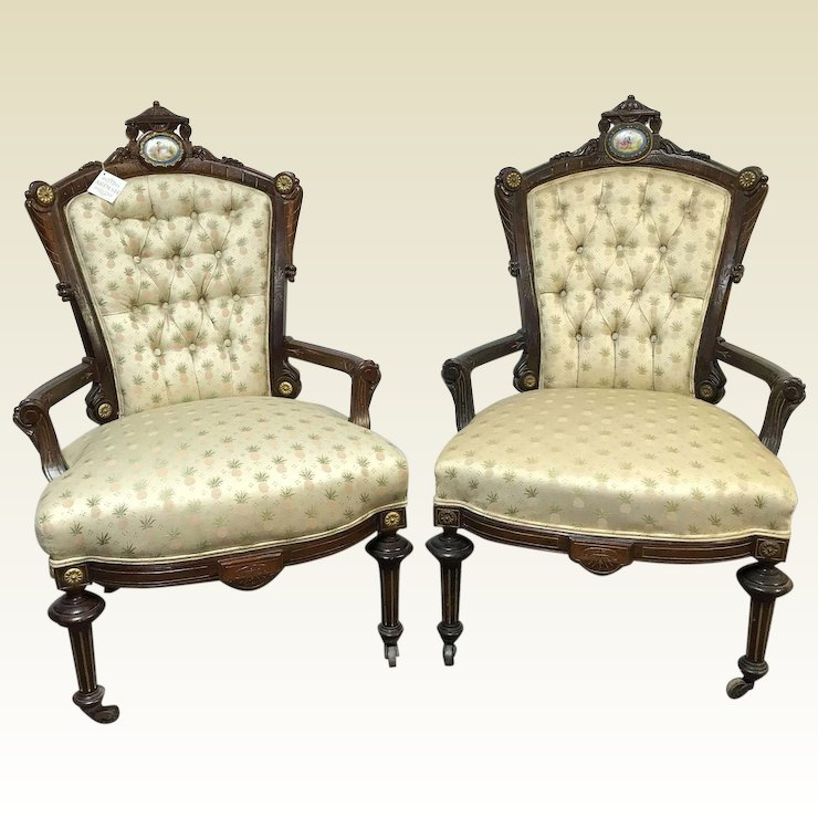 Pair Of Victorian Carved Rosewood Parlor Chairs W/ Bronze U0026 Porcelain  Decoration