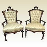 Pair of Victorian Carved Rosewood Parlor Chairs W/ Bronze & Porcelain Decoration