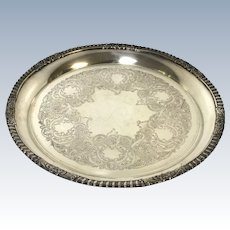 Ornate Heavy Sheffield Silverplated On Copper Round Tray