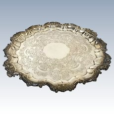Heavy Ornate Barker Ellis English silverplate on Copper Tri Footed Round Tray Shell Decoration