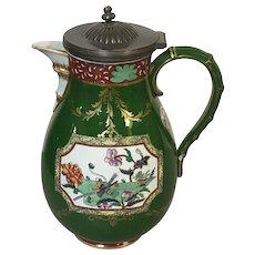 Ironstone China Coffee Tea Pot With Asian Imari Motif & Pewter Lid
