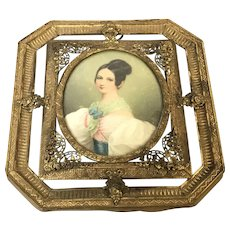 Antique 19th C Miniature Signed Portrait Of Young Lady in Fine Filigree Frame