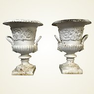 Pair of Antique Cast Iron Planters W/ Lion Head Handle Decoration