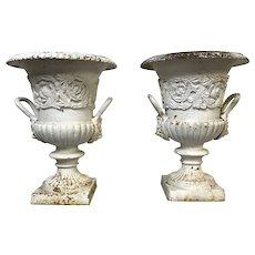 Pair of Antique Cast Iron Planters W/ Lion Head Handle Decoration